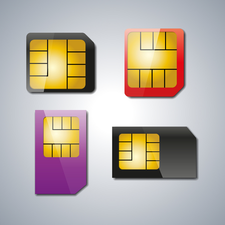 prepaid card: Set realistic sim card with shadow and light spot, vector illustration.