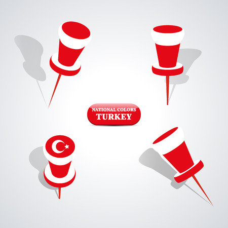 national colors: Set of pushpin in the national colors of Turkey