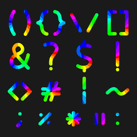 Rainbow alphabet symbols with rounded corners