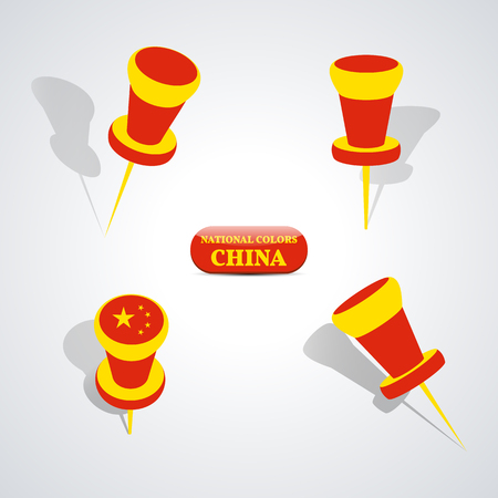 national colors: Set of pushpin in the national colors of China