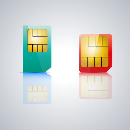 reflection mirror: Set realistic SIM card with a mirror reflection Illustration