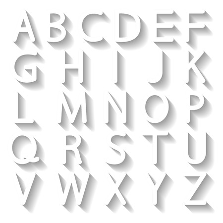 imposing: Set of white English letters with a long shadow, illustration. Illustration