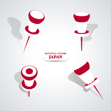 national colors: Set of pushpin in the national colors of Japan, illustration.