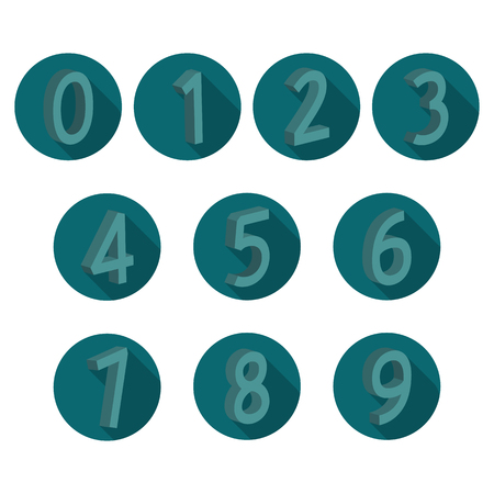 4 3 display: Icons volumetric numbers from zero to nine with a long diagonal shadow, illustration. Illustration