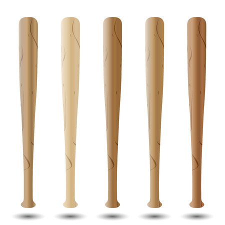 american beech: Set of realistic baseball bats of various types of wood isolated on white background