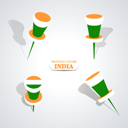 national colors: Set of pushpin in the national colors of India, vector illustration. Illustration