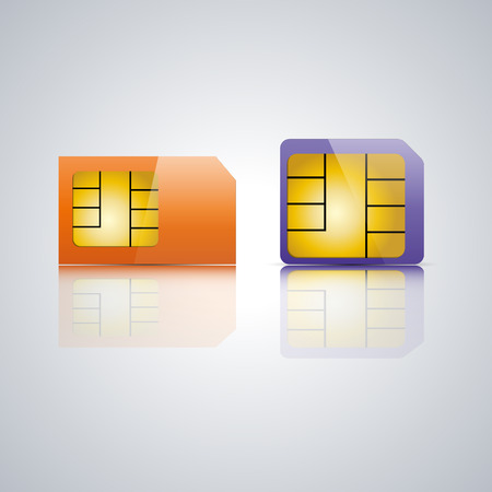 reflection mirror: Set realistic SIM card with a mirror reflection, vector illustration.
