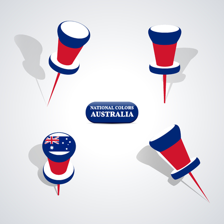 national colors: Set of pushpin in the national colors of Australia, vector illustration.