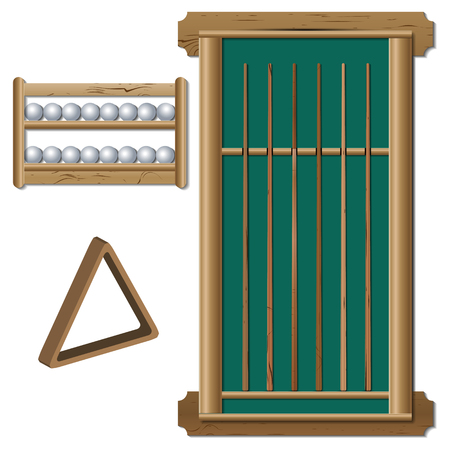 A set of inventory items for billiard balls, shelf, stand with a set of various wooden cues, a triangle for the pyramid, vector illustration.