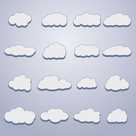 sixteen: Set of sixteen white clouds of different shapes with 3D effects, vector illustration. Illustration