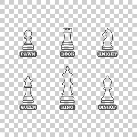 Een set van schaakstukken van dunne lijnen met de naam, vector illustratie.