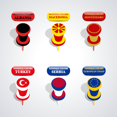 national colors: Set of pushpin in the national colors of candidate countries for membership in the European Union, vector illustration.