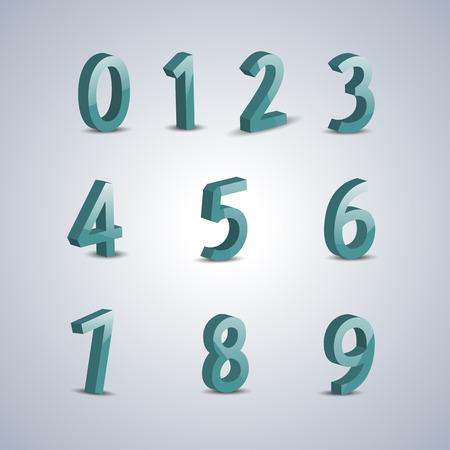 volumetric: Set volumetric numbers from zero to nine, vector illustration. Illustration
