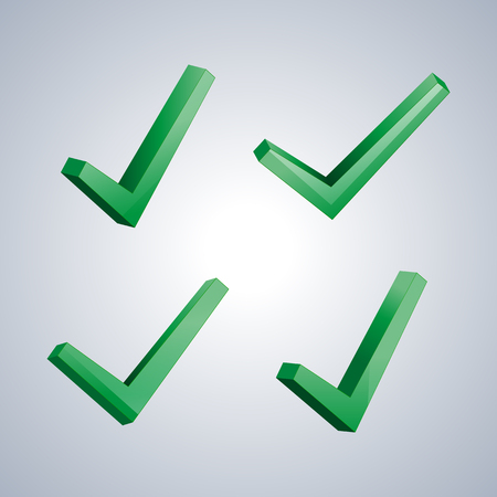 performed: Set of four isolated check marks with 3D effect, the sign performed, tested, positive response, vector illustration.