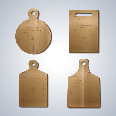 eps picture: A set of wooden boards for cutting food  various shapes, elements of kitchen design, first set, vector illustration.