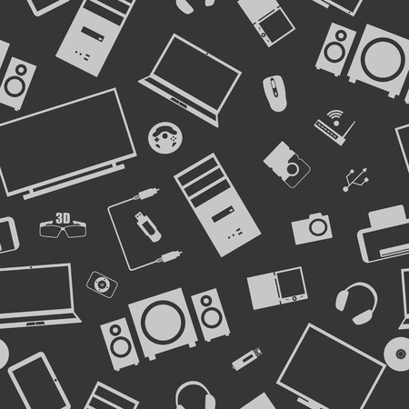 Seamless background from a set of digital devices and computer accesories, vector illustration.