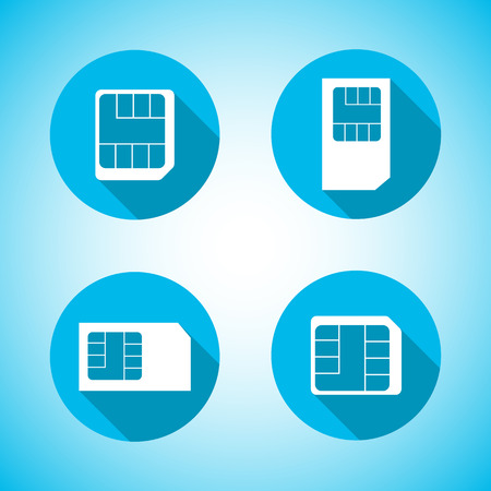 prepaid: Set of round icons Sim card with a long diagonal shadow, vector illustration. Illustration