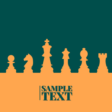 eps picture: Sports background of a set of chess pieces with space for text, vector illustration.