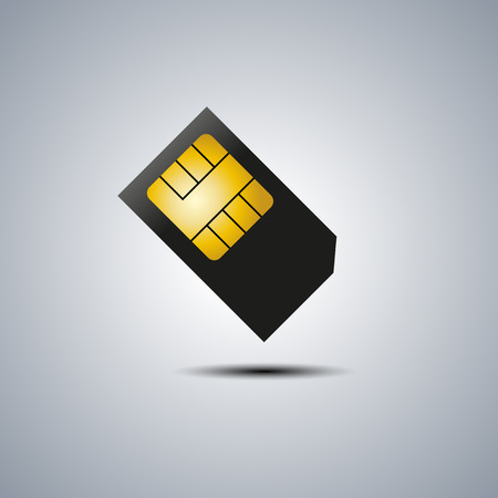 sim: Realistic sim card with shadow, vector illustration.