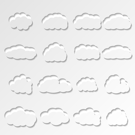 sixteen: Set of sixteen white paper cut out of the clouds of different shapes, vector illustration.