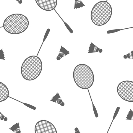 racquet: Sports Seamless background with elements of equipment for badminton, racquet and shuttlecock, vector illustration.
