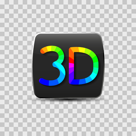 technologie: Sign of a three-dimensional video isolated on a gray background, rainbow letters, vector illustration. Illustration