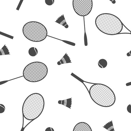 racquet: Sports Seamless background with elements of equipment for badminton and tennis, racquet , ball and shuttlecock, vector illustration. Illustration