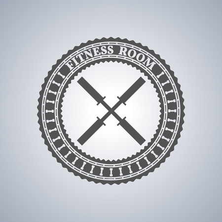 gym room: Grey sports emblem, logo, label for a fitness club, a gym, a sports center with sports equipment elements in vintage style, vector illustration.
