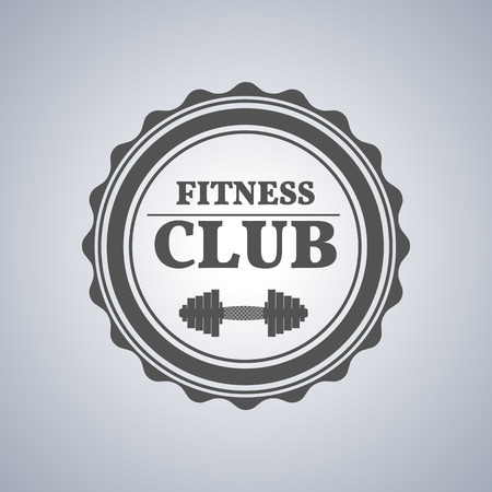 fingerboard: Grey sports emblem, logo, label for a fitness club, a gym, a sports center with sports equipment elements in vintage style, vector illustration.