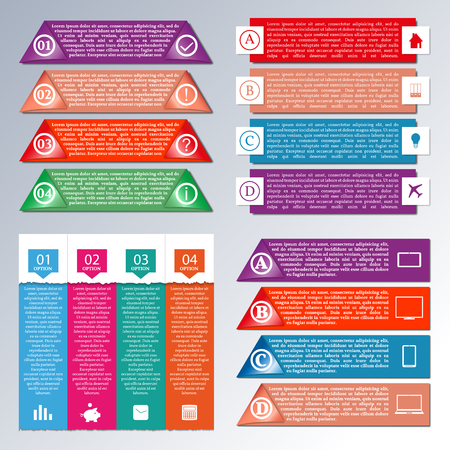stock clip art: Set of bright paper elements for infographics, vector illustration. Illustration