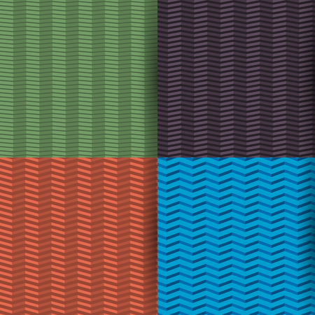 inclination: Set of four colored seamless patterns zigzag, with the effect of 3D, different angle of inclination of lines, vector illustration.