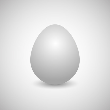 disposed: Icon white egg isolated on a gray background, vertically disposed with shadow, vector illustration. Illustration