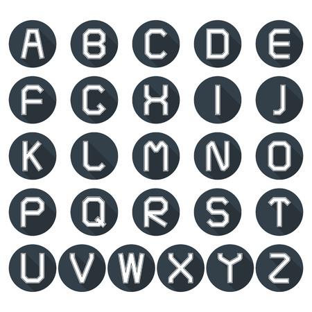 Ensemble d'icônes rondes de l'alphabet latin dans un style rétro avec une longue ombre diagonale, illustration vectorielle. Banque d'images - 59744549