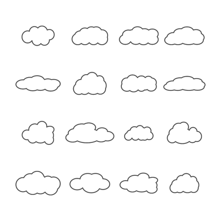 sixteen: Set of sixteen icons clouds contour, different form of thin lines, vector illustration. Illustration