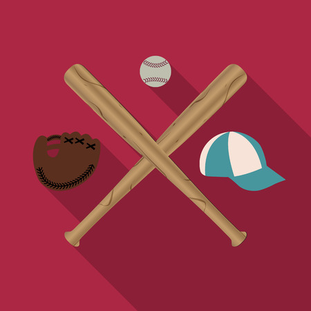eps picture: Baseball icon with two wooden baseball bats, cap, glove and Ball, a long diagonal shadow, vector illustration.