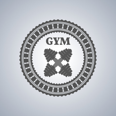 youthfulness: Grey sports emblem, logo, label for a fitness club, a gym, a sports center with sports equipment elements in vintage style, vector illustration.