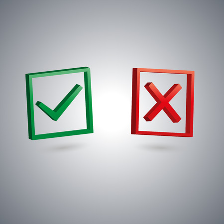 performed: Set of two isolated check marks with 3D effect, the sign performed, tested, rejected, positive and negative response, vector illustration.
