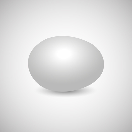 disposed: Icon white egg isolated on a gray background, horizontally disposed with shadow, vector illustration.