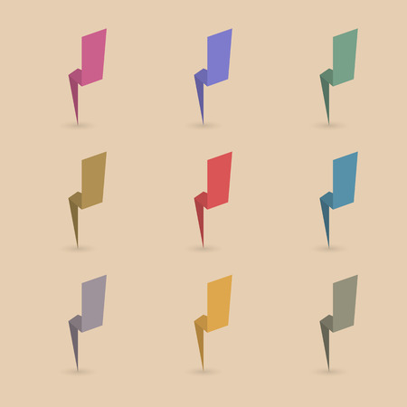thunderbolt: Set of nine different colored paper lightning, thunderbolt with the shadow, first set, vector illustration.