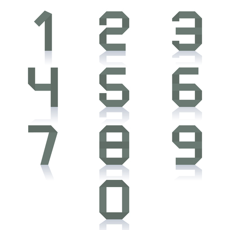 mirror reflection: Set paper numbers from zero to nine, isolated on white background with mirror reflection, vector illustration.