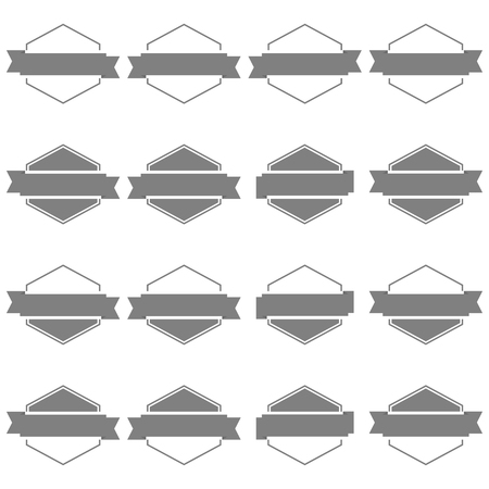 eps picture: Set of sixteen gray hexagonal emblem with ribbons isolated on white background in retro style, second set, vector illustration.