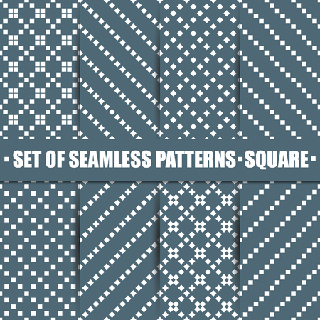 diagonal  square: Set of eight seamless patterns, repeating geometric tiles with diagonal square, texture with dotted elements, first set, vector illustration.