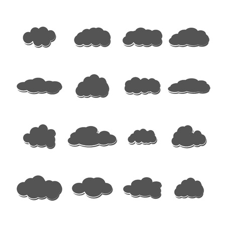 sixteen: Set of sixteen grey clouds of different shapes isolated on a white background, vector illustration.