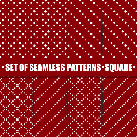 diagonal  square: Set of eight seamless patterns, repeating geometric tiles with diagonal square, texture with dotted elements, second set, vector illustration. Illustration
