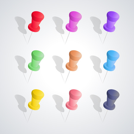 Set of nine colored pushpins with shadow and 3D effect, isolated on white background, design elements Chancellery, first set, vector illustration. Illustration
