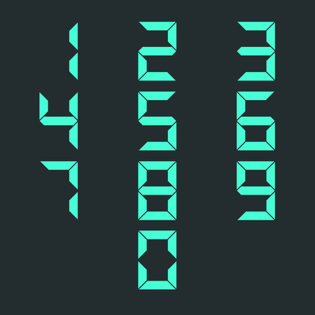 4 3 display: Set digital numbers from zero to nine, isolated on black background, second set, vector illustration.
