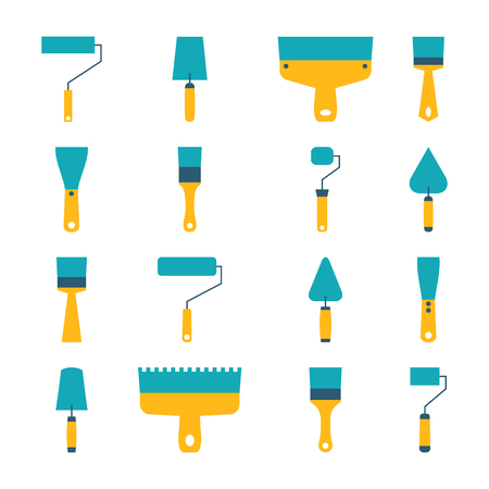 flat brushes: Icons set for repair and construction, rollers and brushes for painting, trowel, various shapes and sizes. Flat style, isolated on white background, vector illustration.