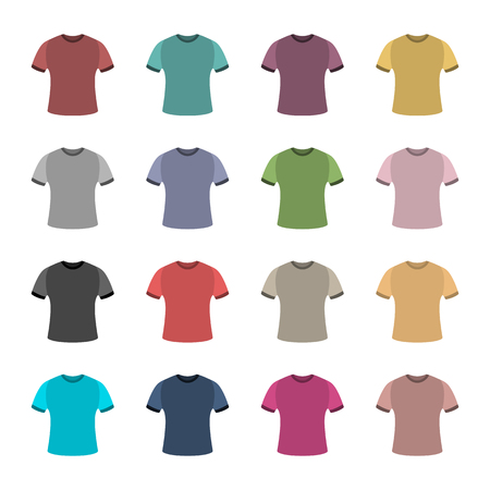 outerwear: Set of sixteen in a flat style color t-shirts isolated on white background, design element outerwear and article of clothing, a set of the first, vector illustration. Illustration