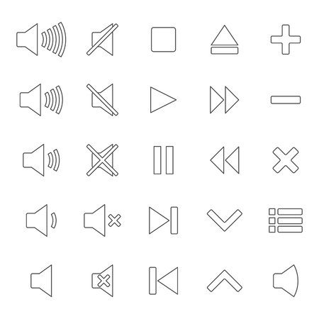 vector control illustration: A set of twenty-five gray multimedia icons of thin lines, isolated on white background, control buttons, vector illustration.