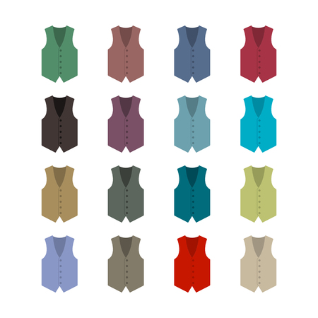 outerwear: Set of sixteen colored waistcoats in a flat style, isolated on white background, design element outerwear and the subject of a businessman wardrobe, vector illustration.